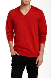 Ben Sherman Merino Wool V Neck Sweater Red