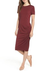 Treasure And Bond Side Ruched Body Con Dress Red Tannin