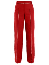 Valentino High Rise Straight Leg Cotton Blend Trousers Red Multi