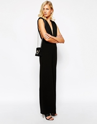 Aq Aq Aq Aq Leoni Wide Leg Jumpsuit With Plunge Font And Back Black