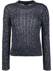Rag And Bone Cable Knit Jumper Blue