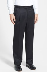 Men's Big And Tall Berle Pleated Wool Gabardine Trousers Black