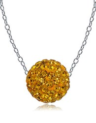 Lord And Taylor Sterling Silver Fireball Necklace Yellow
