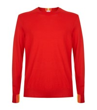 Paul Smith Stripe Detail Crew Neck Jumper Male Red