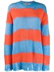Acne Studios Distressed Striped Sweater Blue