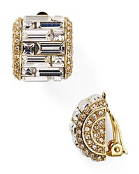Carolee Crystal Baguette Huggie Clip On Earrings Gold