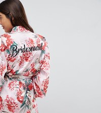 Missguided Bridesmaid Satin Floral Robe Pink