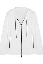 Theory Runi Stretch Pique Hooded Sweatshirt White