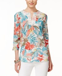 Alfred Dunner Floral Print Three Quarter Sleeve Top Multi