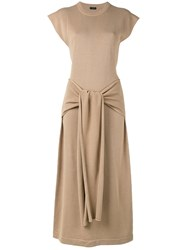 Joseph Tie Front Maxi Dress Women Cotton Viscose M Nude Neutrals