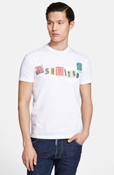 Dsquared Pieced Letter Graphic Pocket T Shirt White