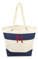Cathy's Concepts Personalized Stripe Canvas Tote Blue Navy H