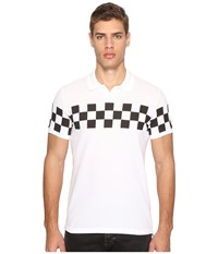Dsquared Military Glam Checkerboard Polo White Men's Clothing