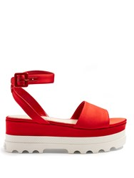 Miu Miu Bi Colour Satin Flatform Sandals Red