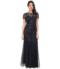 Adrianna Papell Floral Beaded Godet Gown Twilight Women's Dress Blue