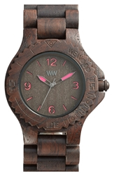 Wewood 'Kale' Wood Bracelet Watch 42Mm Chocolate Pink