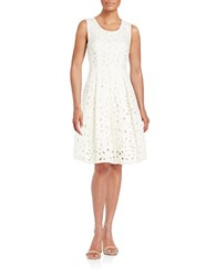 Elie Tahari Jessy Laser Cut Fit And Flare Dress White