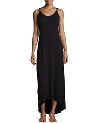 Paperwhite Stretch Knit High Low Maxi Dress Black
