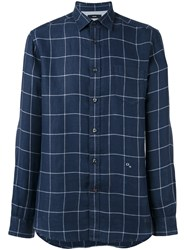 Diesel Checked Button Up Shirt Blue
