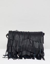 Urbancode Leather Cross Body Bag With Detacable Fringing Black