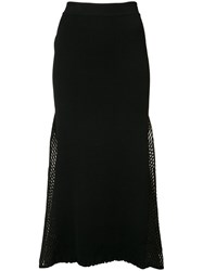 Derek Lam Mesh Panelled Ribbed Knit Skirt Women Polyamide Polyester Viscose Xs Black