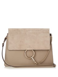 Chloe Faye Medium Suede And Leather Shoulder Bag Light Grey