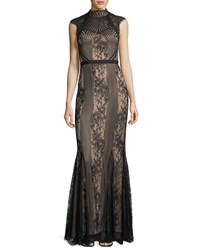 Catherine Deane Cap Sleeve Mock Neck Lace Gown Blackalmond