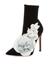 Sophia Webster Lilico Suede Ankle Boot With 3D Flower Black White