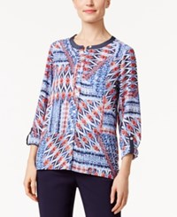 Alfred Dunner Printed Roll Tab Shirt Multi