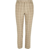 River Island Beige Check Skinny Fit Suit Trousers