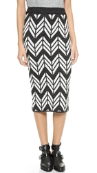 J.O.A. Chevron Knit Skirt Black White