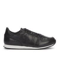 Armani Jeans Black Leather Running Shoes With Aj Logo