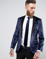 Noose And Monkey Super Skinny Tuxedo Blazer In Crushed Velvet Navy