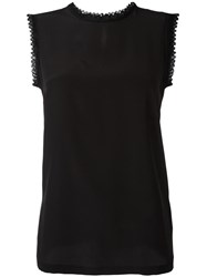 Dolce And Gabbana Embroidered Trim Tank Top Black