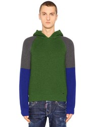 Dsquared Hooded Color Block Wool Rib Knit Sweater Green Blue Grey