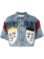 Jc De Castelbajac Vintage Cropped Denim Jacket Blue
