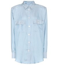 Alessandra Rich Striped Silk Shirt Blue