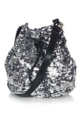 Silver Sequin Bucket Bag By Jaded London
