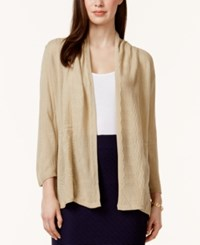 Ny Collection Pointelle Knit Cozy Cardigan Tan