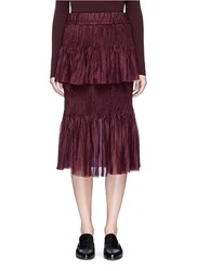 Ms Min Tiered Plisse Pleat Sheer Silk Skirt Purple