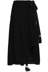 Amanda Wakeley Tasseled Laser Cut Wool Blend Midi Wrap Skirt Black