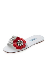 Prada Floral Embellished Leather Flat Slide Black Pink