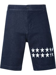 Guild Prime Star Print Denim Shorts Blue