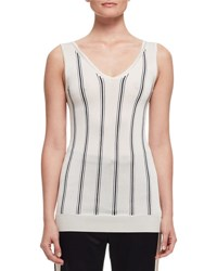 Lanvin Vertical Stripe V Neck Tank White Black