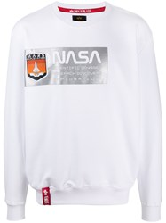 Alpha Industries X Nasa Logo Sweatshirt White