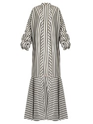 Johanna Ortiz Ruched Sleeve Striped Stretch Cotton Coat Green White