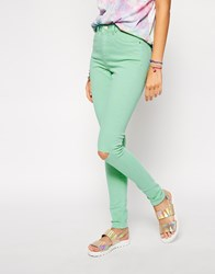 Asos Ridley Skinny Jeans In Washed Mint With Ripped Knee Green