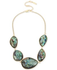 Kenneth Cole New York Gold Tone Abalone Stone Statement Necklace