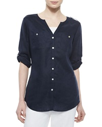 Go Silk Linen Button Front Tunic Women's