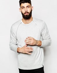 Only And Sons Knitted Crew Neck Jumper With Zip Detail Lightgreymelange